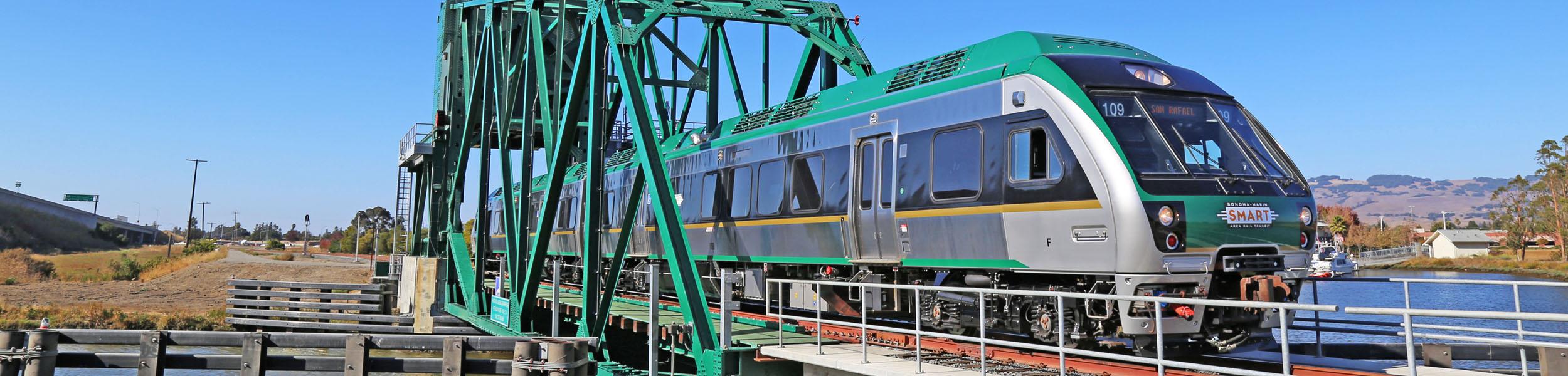 SMART Train crosses Haystack Bridge in Petaluma.