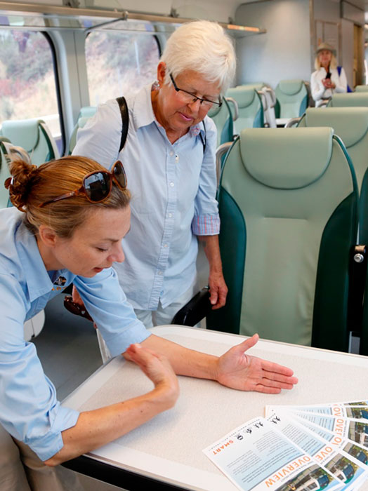 SMART staff assists rider on the SMART train.