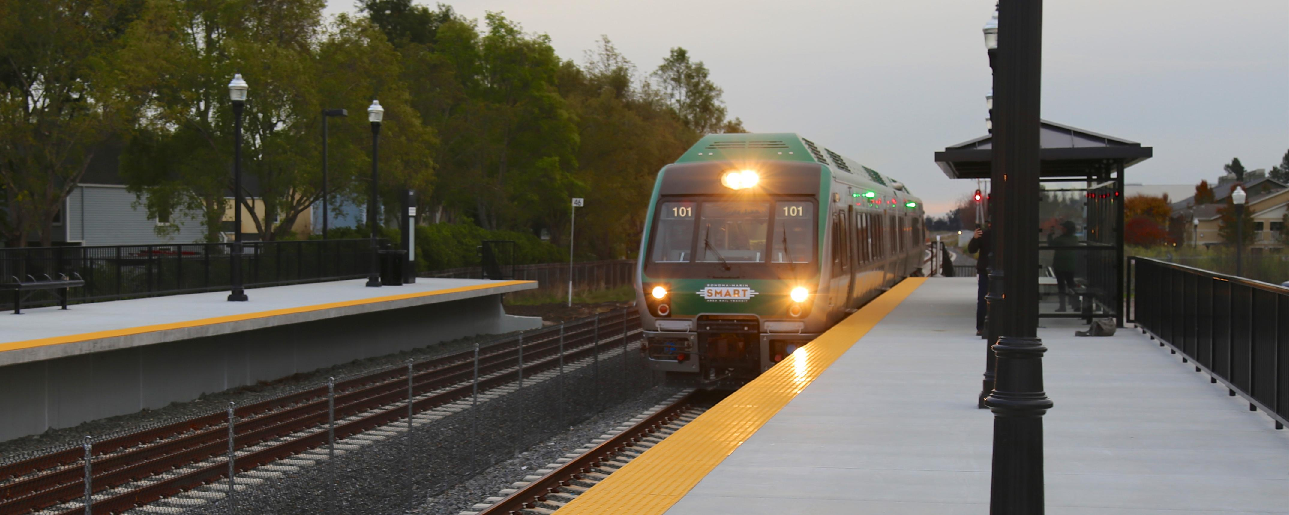 SMART train arriving at station
